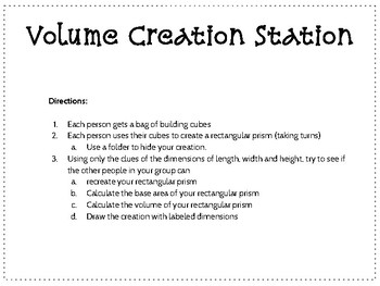 Volume Creation Station