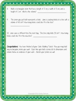 Volume Cube Building Tasks