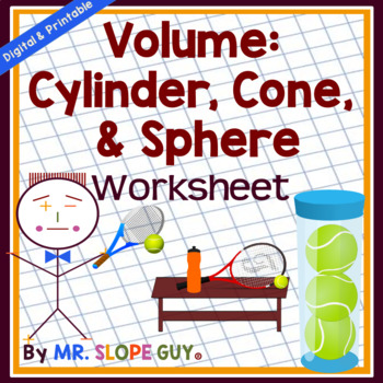 Volume: Cylinder, Cone & Sphere PDF Puzzle Worksheet CCSS