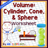 Volume of Cones, Cylinders, Spheres Puzzle Worksheet