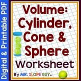 Volume of Cones, Cylinders, Spheres Puzzle Worksheet