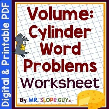 Volume Cylinder Word Problems PDF Math Geometry Worksheet