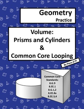 Volume Cylinders 8.G.9 Prisms Common Core Spiraling Practice Test Prep