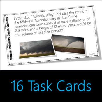 Volume: Cylinders, Cones, Spheres Task Cards