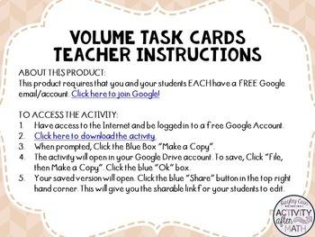 Volume Cylinders, Cones, &Spheres Task Cards with QR Codes GOOGLE Slide Version