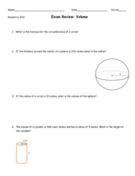 Volume Exam Review