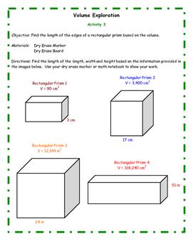 Volume Explorations Level 3 - Math Center