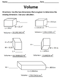 Volume: Find the Missing Dimension
