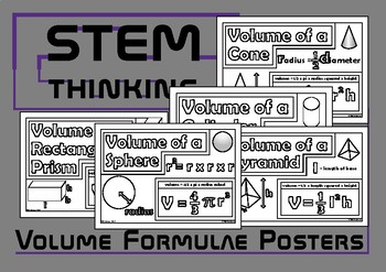 Volume Formulas Posters Middle, High School Math