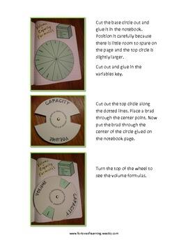 Volume Formulas Wheel for Interactive Notebooks
