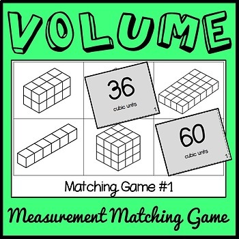 Volume Game, Fifth Grade Rectangular Prisms Matching Game, Includes 10 Versions!