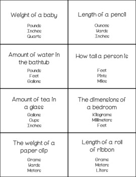 Measurement Conversions Grab & Go Flash Cards