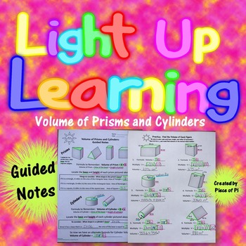 Volume Prisms Cylinders Guided Notes 8.G.9 Color Coded