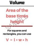 Volume Math Poster - Anchor Chart