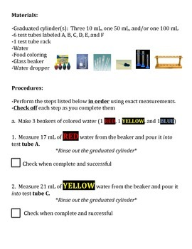 Volume Measurement RAINBOW LAB - 3 Versions! (MUST HAVE for any science class!)