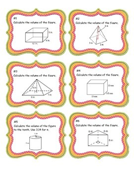 Volume of 3D Solids - Mixed Review