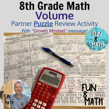 8th Grade Math Volume Partner Puzzle Review Activity
