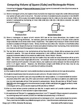Volume - Pedagogy - Computing Volume of Rectangular Prisms - FREE