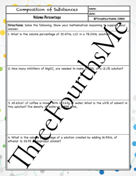 Volume Percentage Classwork / Homework
