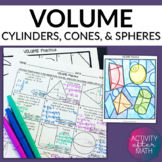 Volume of Cylinders, Cones, and Spheres Practice Coloring Activity