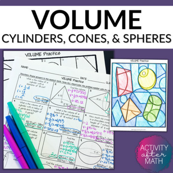 Volume of Cylinders, Cones, and Spheres Practice Coloring