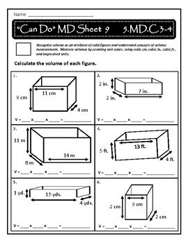 Volume Practice Sheets: 5.MD.C.3-4