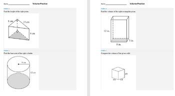 Volume Practice Prisms Pyramids Cylinders Base Height Geometry Tables Worksheet
