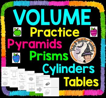 Volume Practice Prisms Pyramids Cylinders Base Height Geom