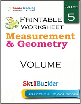 Volume Printable Worksheet, Grade 5