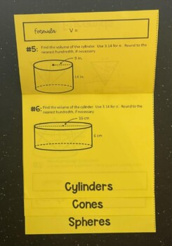 Volume (Prisms, Pyramids, Cylinders, Cones, & Spheres) (Foldable)