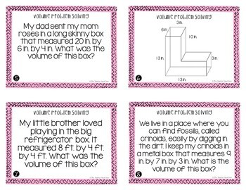 Volume Problem Solving Task Cards (Word Problems) for 5th Grade