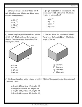 Volume Problem Solving Quiz, 5.MD.5 Assessment, Includes Two Versions!