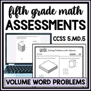 Volume Problem Solving Quiz, 5.NBT.5 Assessment, Includes
