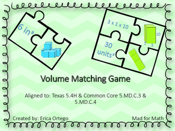 Volume Puzzle Matching Game - 5th grade