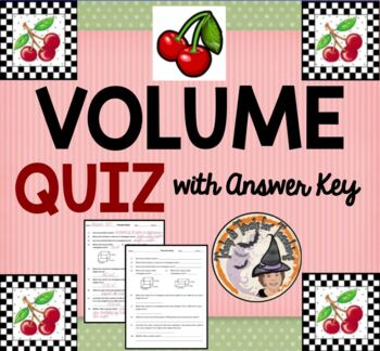 Volume Quiz with Answer KEY Geometry Prism Base Real World Cubic L x W x H