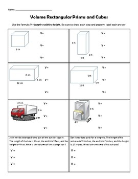 Volume Rectangular Prisms and Cubes Practice