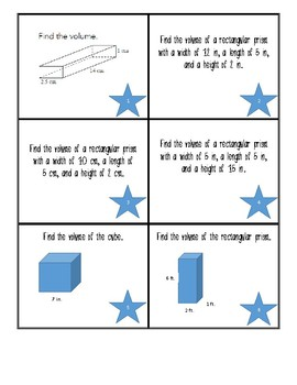 Volume Rectangular Prisms and Cubes Task Cards
