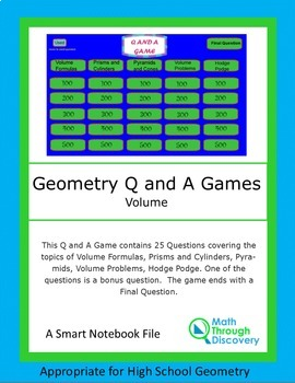 Geometry: Smartboard Q and A Game - Volume