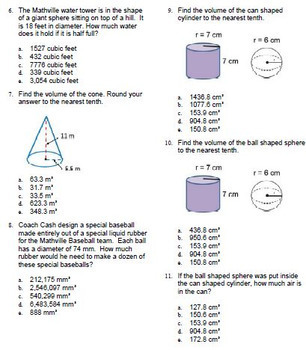 Volume Spheres Cones & Cylinders Questions Bank BNK 8.G.C.9 Go Math for ExamView