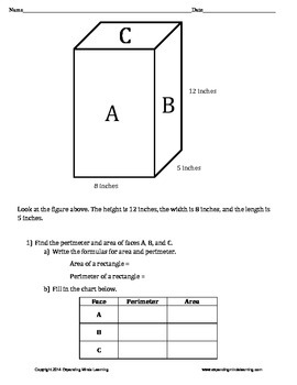 Volume, Surface Area, Area, and Perimeter - Rectangular Prisms