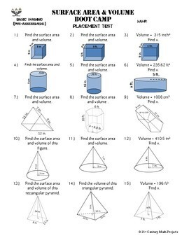 Volume & Surface Area Boot Camp -- Differentiated Practice Assignments