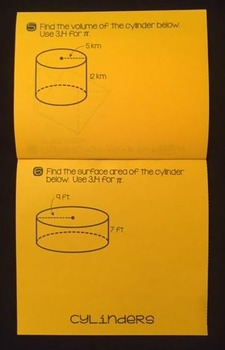 Volume & Surface Area of Prisms & Cylinders (Foldable)