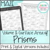 Volume & Surface Area of Prisms Worksheet - Maze Activity