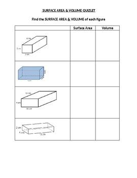 Volume & Surface Area of Rectangular Prisms Quiz