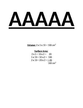 Volume & Surface Area of Rectangular Prisms Scavenger Hunt