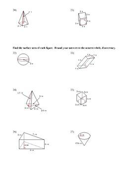 Volume, Surface Area worksheet