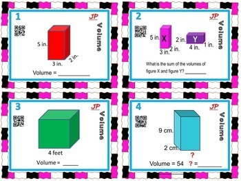 MEASUREMENT / VOLUME - Volume Task Cards w/ QR Codes