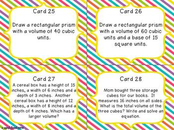 Volume Task Cards for Fifth Grade