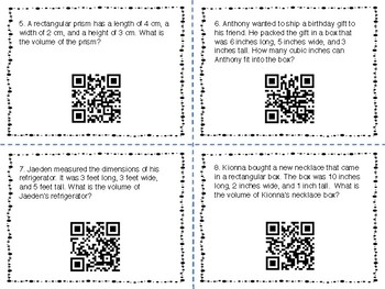 Volume Task Cards with QR Codes - Differentiated