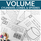 Volume of Cylinders, Cones, & Spheres Task Cards with QR Codes